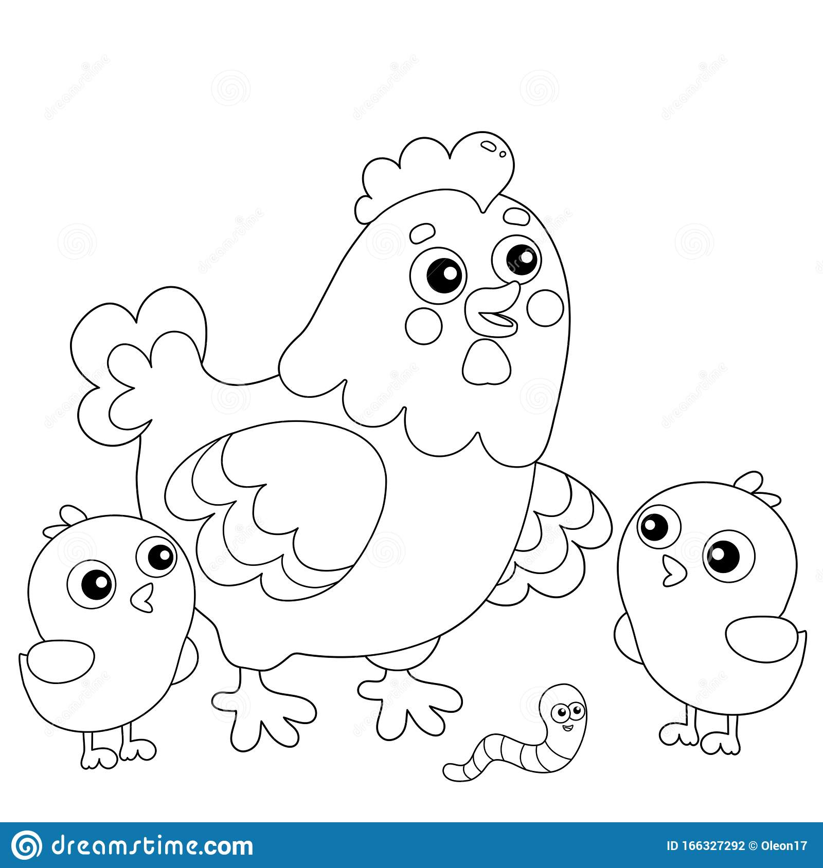 - Coloring Page Outline Of Cartoon Chicken Or Hen With Chicks. Farm