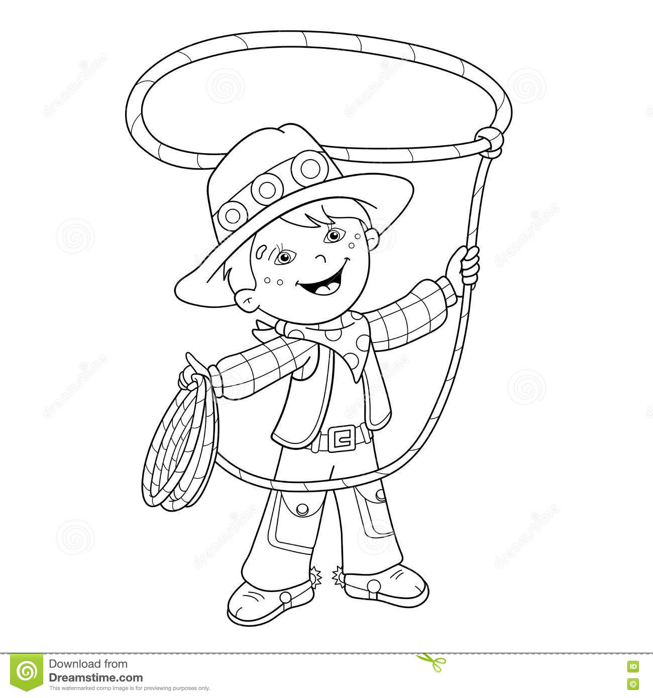 coloring page outline of cartoon cowboy with lasso stock vector