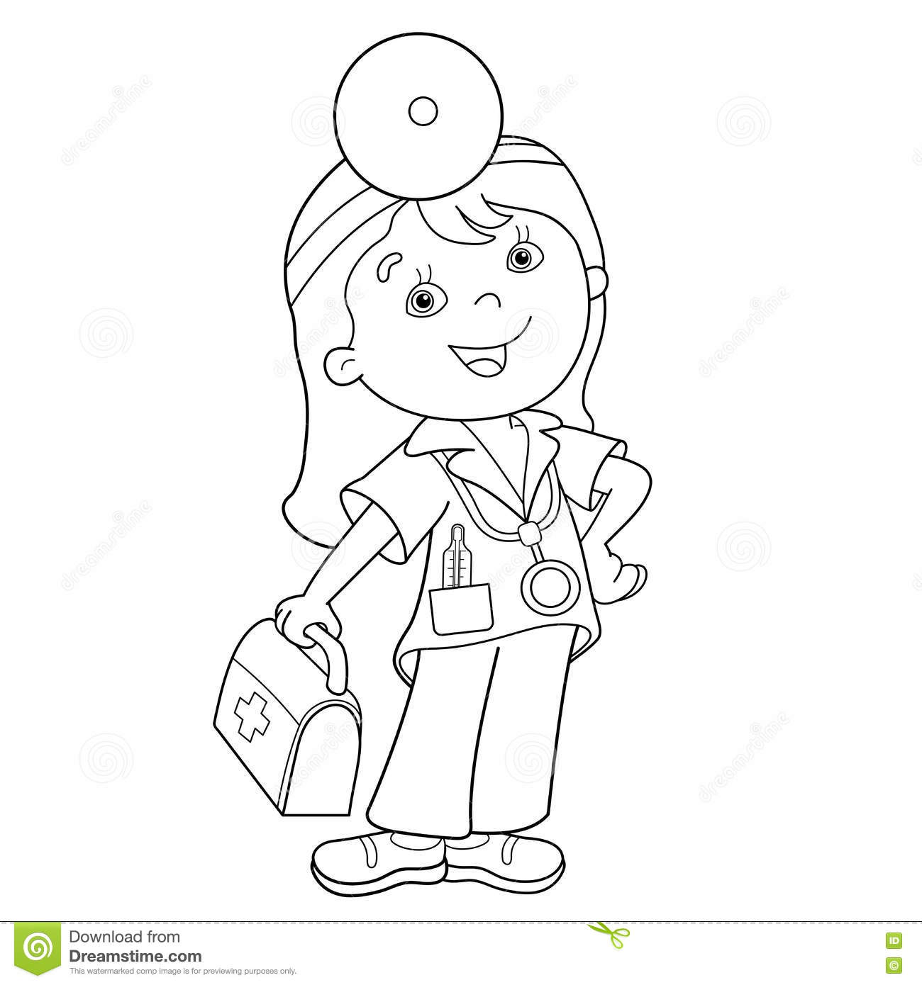 coloring page outline of cartoon doctor with first aid kit - Aid Coloring Pages Kids