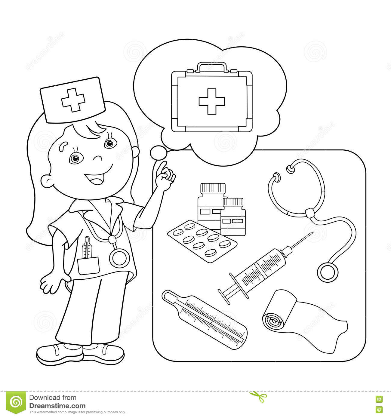 Coloring Page Outline Of Cartoon Doctor With First Aid Kit Set Medical Instruments Profession Medicine Book For Kids