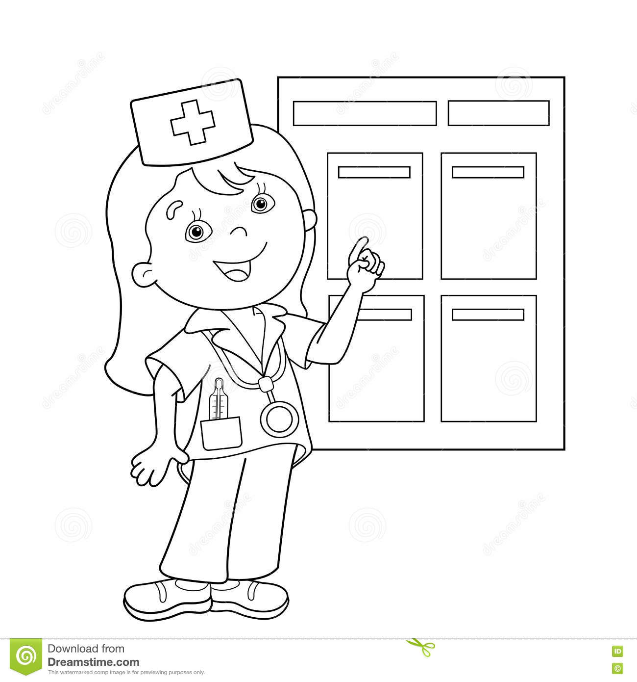Coloring Page Outline Of Cartoon Doctor Royalty Free Stock Images