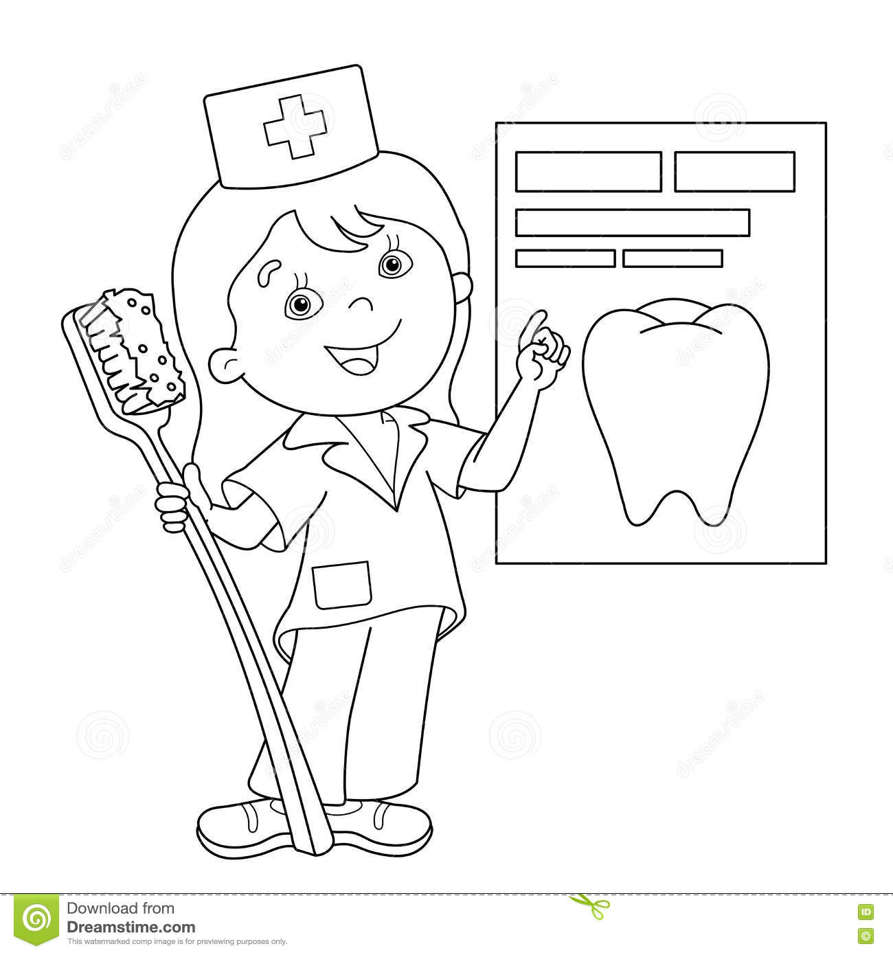 Coloring pages nurse - Coloring Page Outline Of Cartoon Doctor With A Toothbrush Royalty Free Stock Images