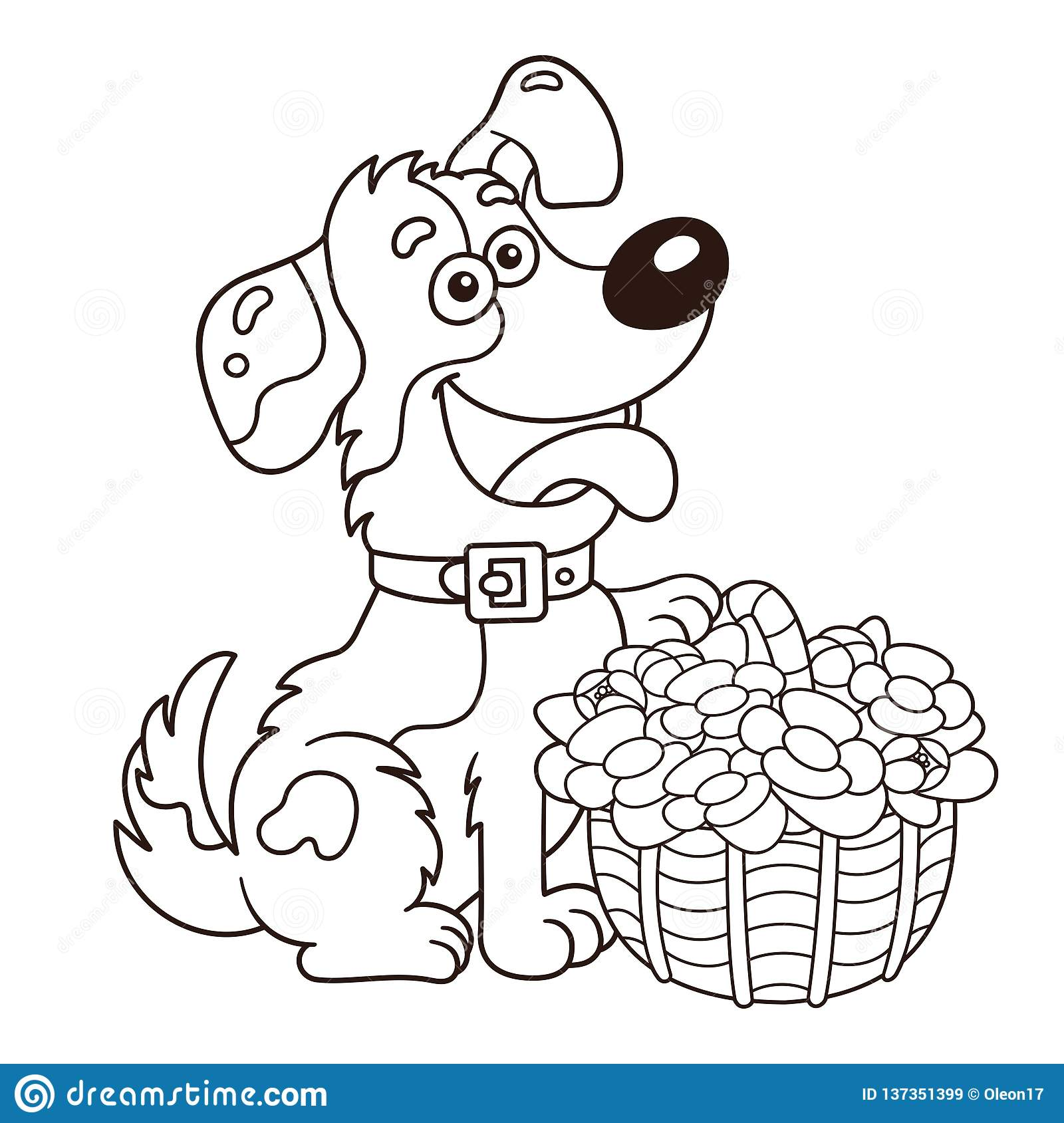 Coloring Page Outline Of Cartoon Dog With Basket Of Flowers