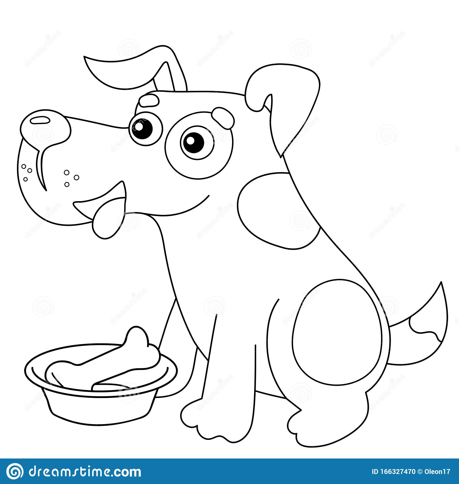 Coloring Page Outline Of Cartoon Dog With Bone Pets Coloring Book For Kids Stock Vector Illustration Of Amusing Colour 166327470