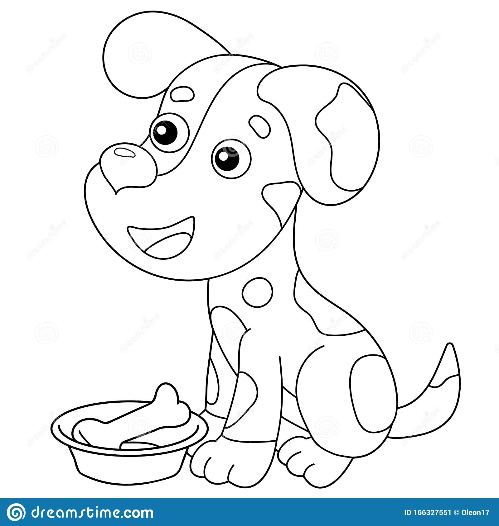 Coloring Page Outline Of Cartoon Dog With Bone Pets Coloring Book For Kids Stock Vector Illustration Of Cute Colouring 166327551