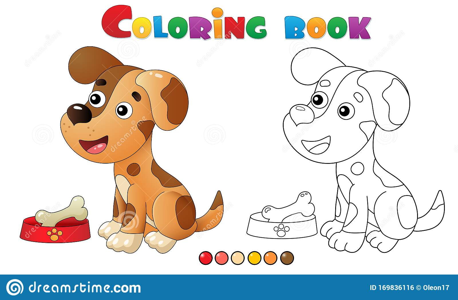 Coloring Page Outline Of Cartoon Dog With Bone Pets Coloring Book For Kids Stock Vector Illustration Of Book Colouring 169836116