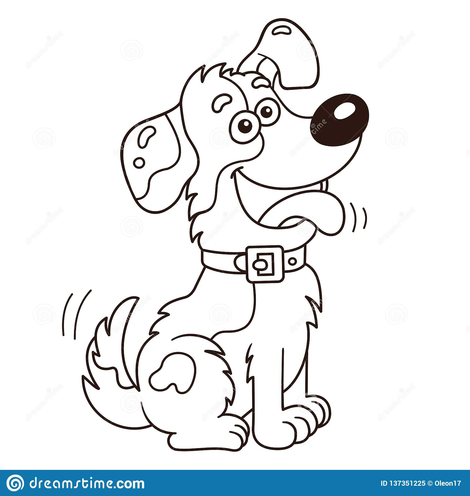 Coloring page outline of cartoon dog coloring book for kids