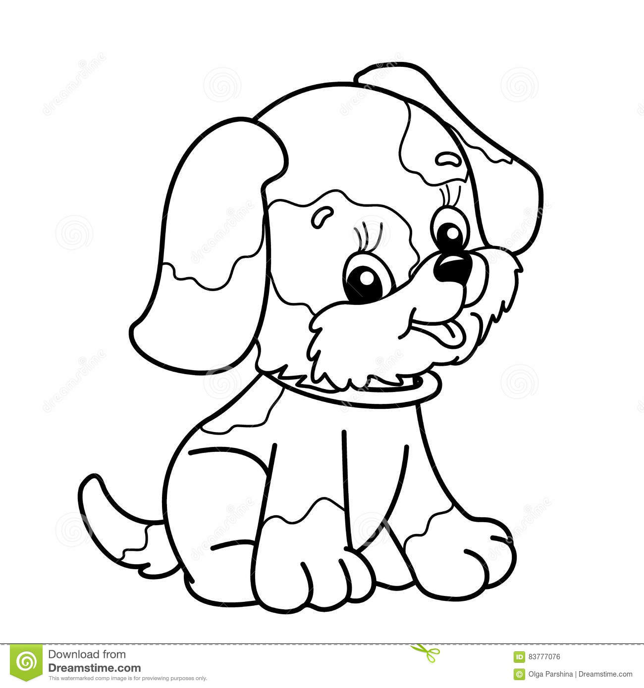 Coloring Page Outline Of Cartoon Dog. Cute Puppy Sitting. Pet. Stock ...
