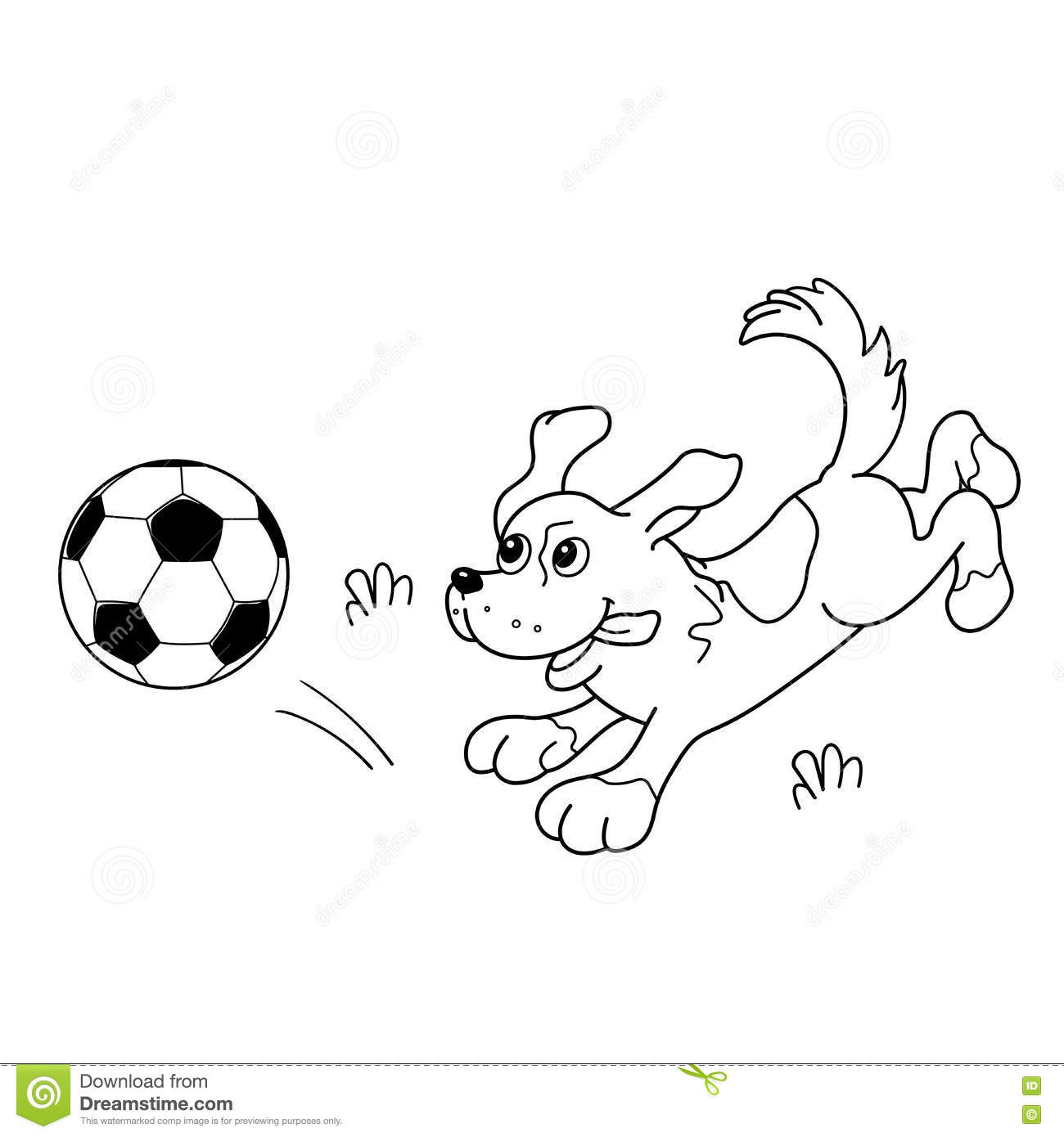 Coloring Page Outline Of Cartoon Dog With Soccer Ball. Stock Vector ...