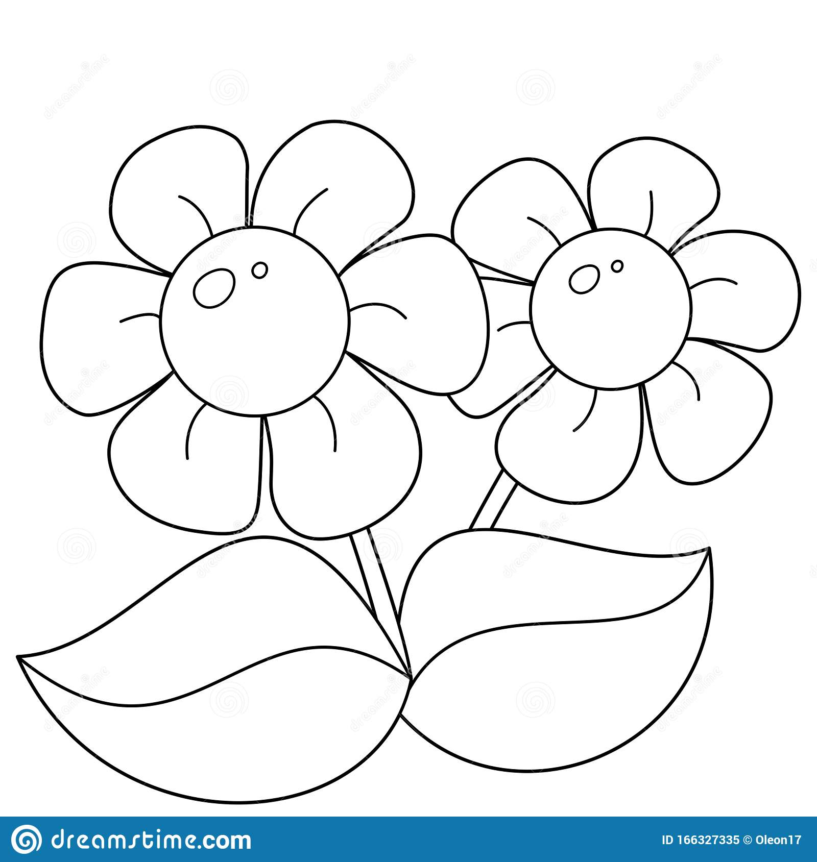 Coloring Page Outline Of Cartoon Flowers Coloring Book For Kids Stock Vector Illustration Of Child Drawing 166327335