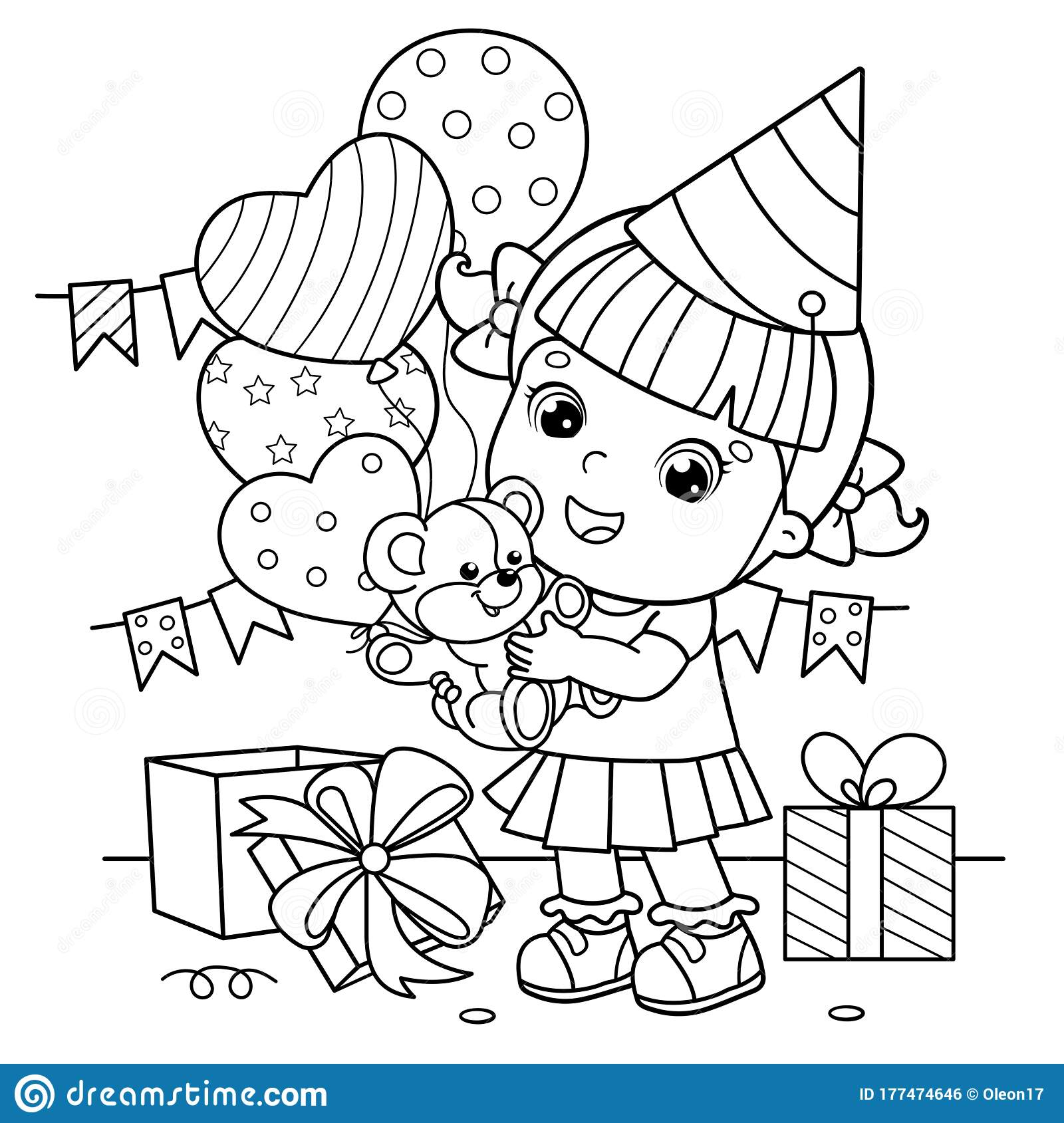 Coloring Page Outline Of A Cartoon Girl With A Balloons And With ...