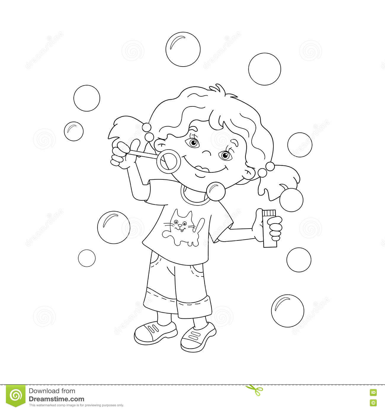 coloring page outline of cartoon blowing soap bubbles