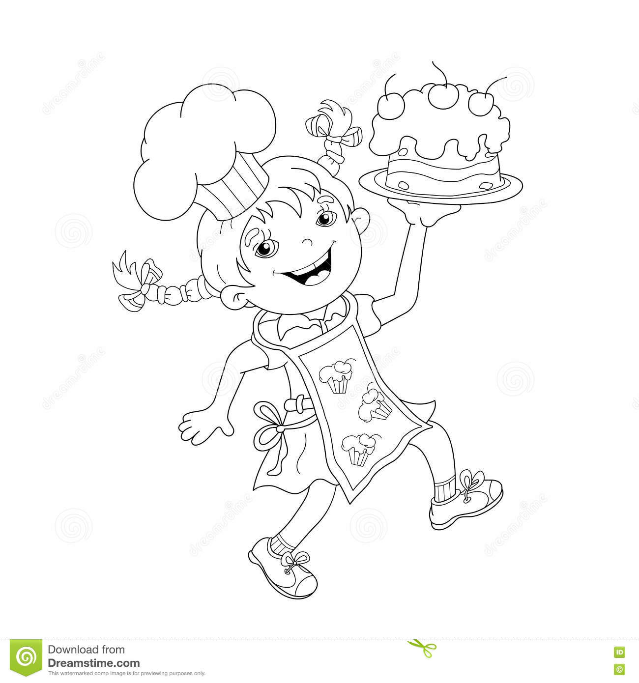 Coloring Page Outline Of Cartoon Girl Chef With Cake Stock Vector