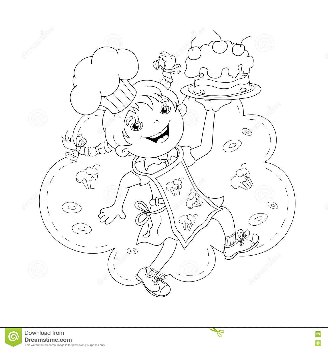 Coloring Page Outline Of Cartoon Girl Chef With Cake Stock Vector ...