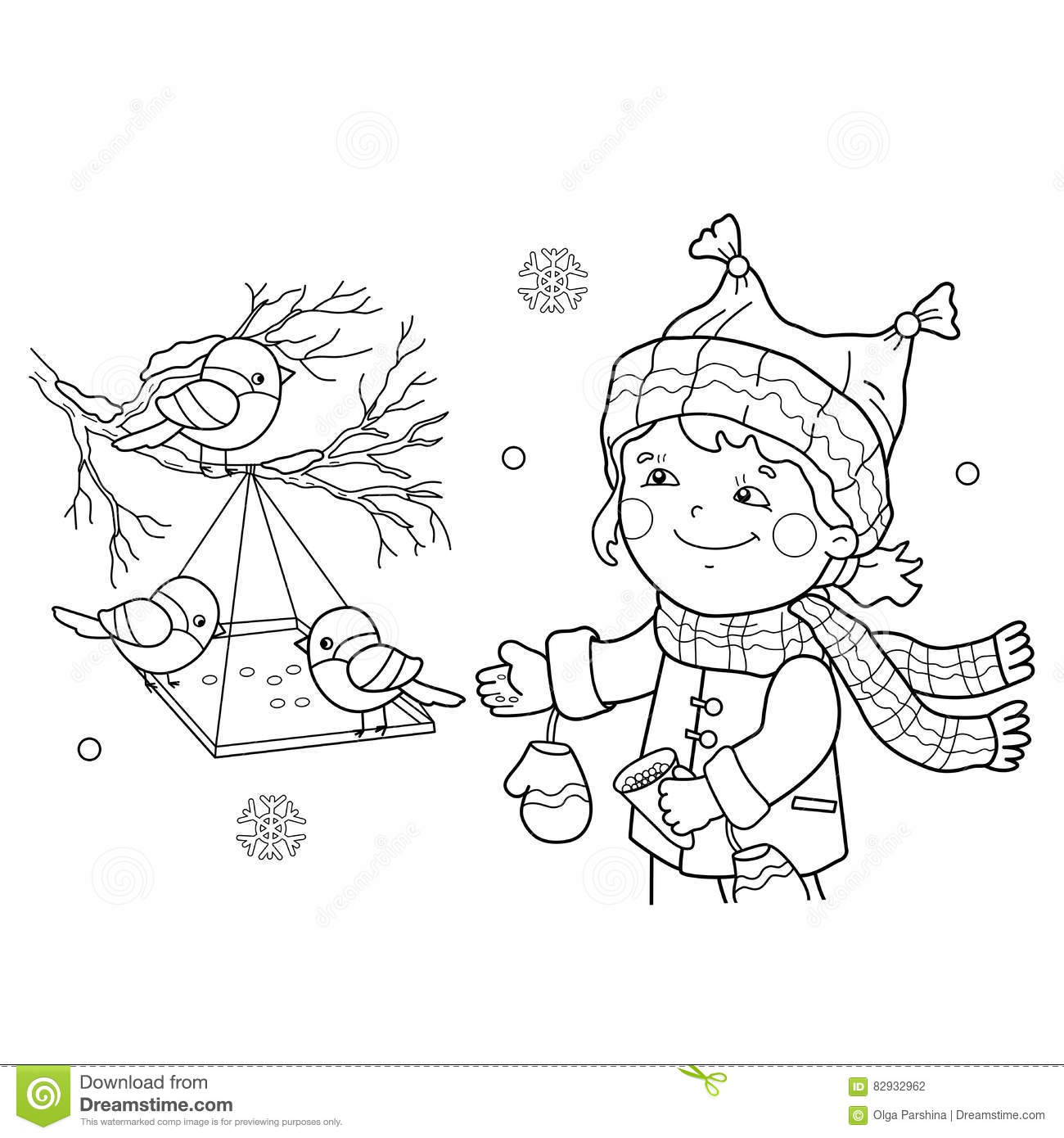 Download Coloring Page Outline Of Cartoon Girl Feeding Birds Bird Feeder Stock Vector
