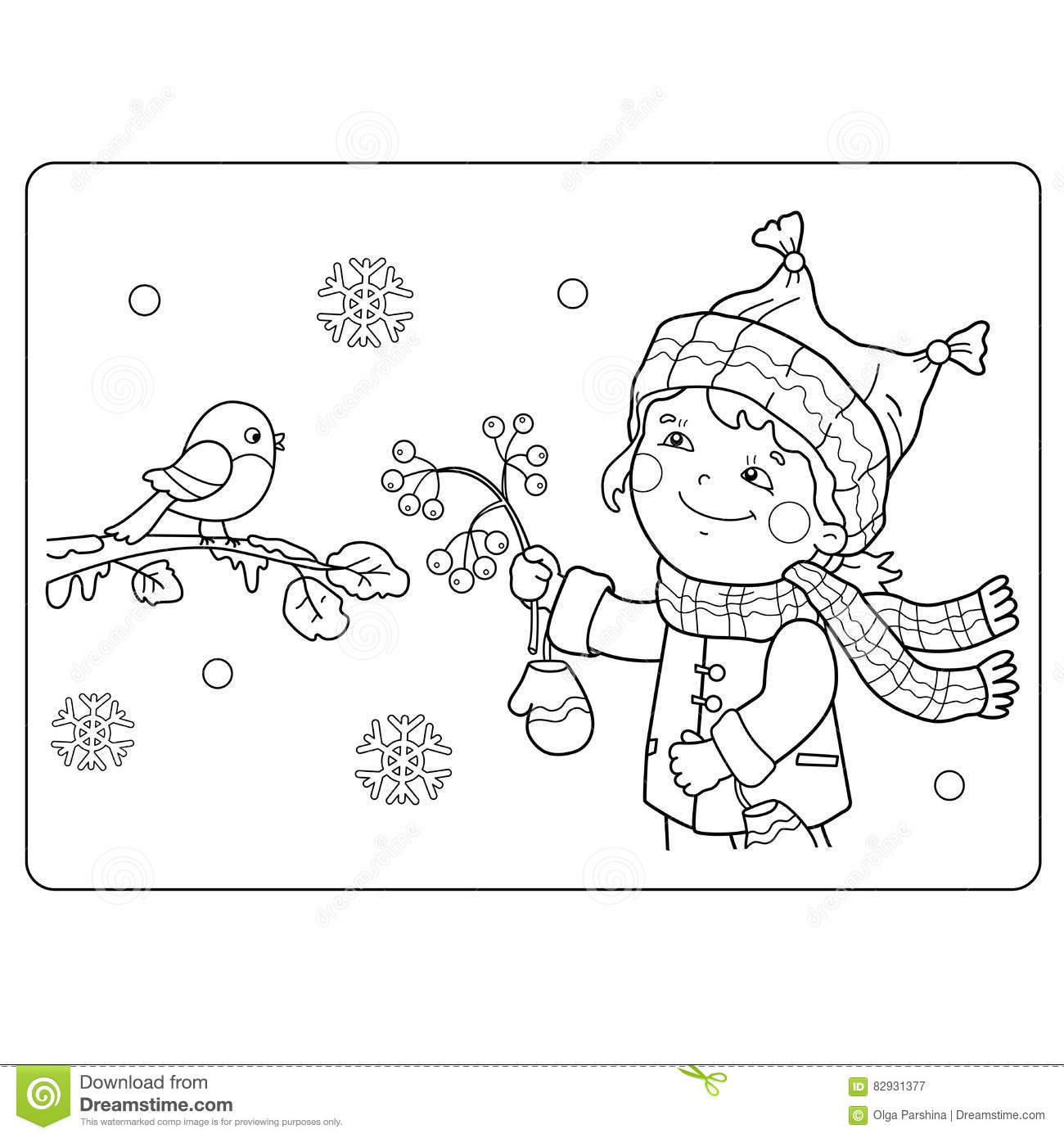 Download Coloring Page Outline Of Cartoon Girl Feeding Birds Winter Stock Vector