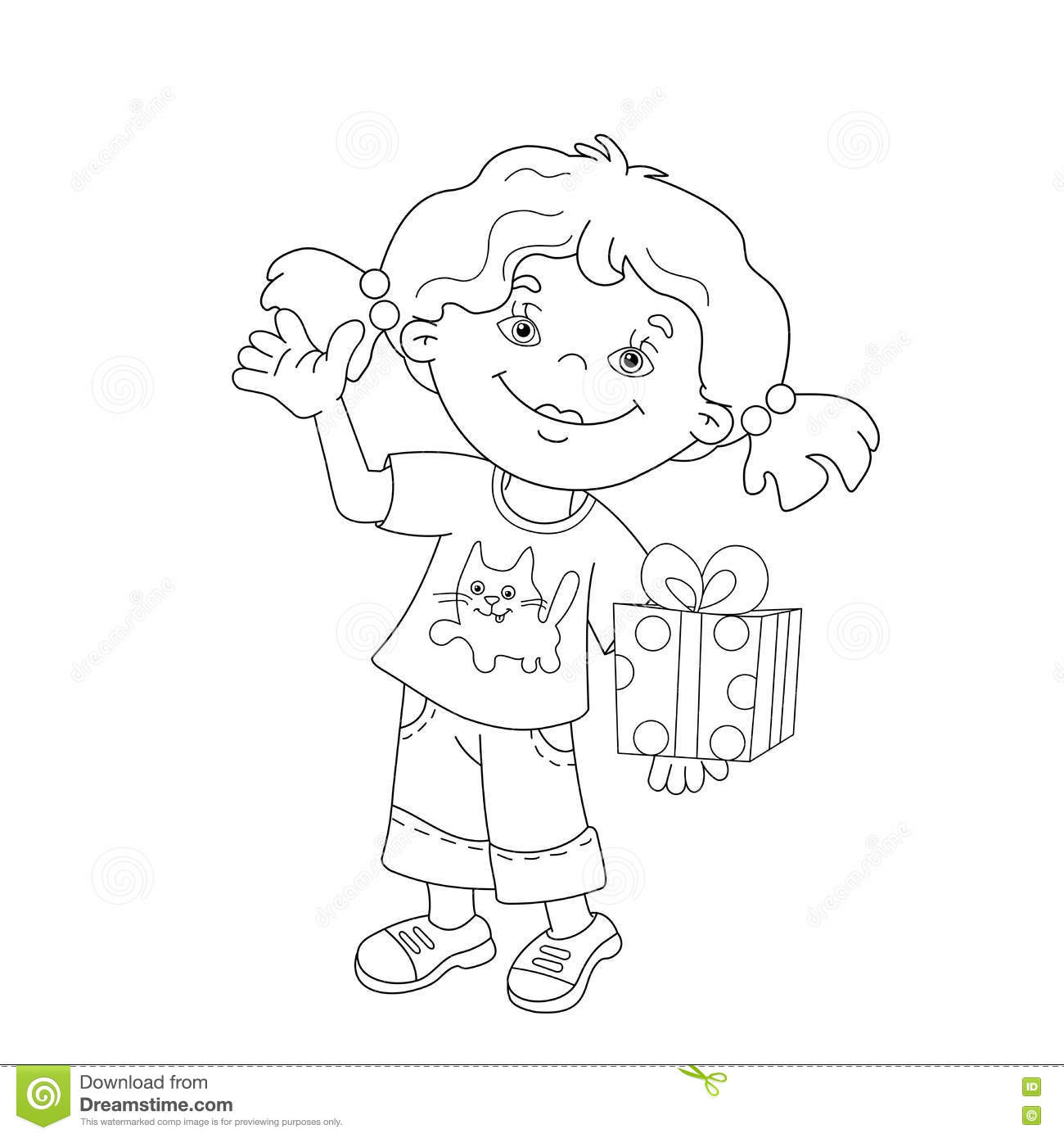 coloring page outline of cartoon girl with a gift stock vector