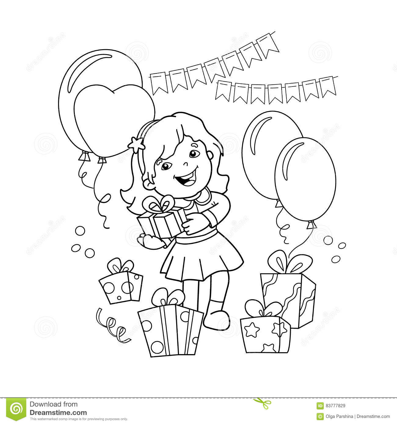 Coloring Page Outline Of Cartoon Girl With A Gift At The Holiday ...