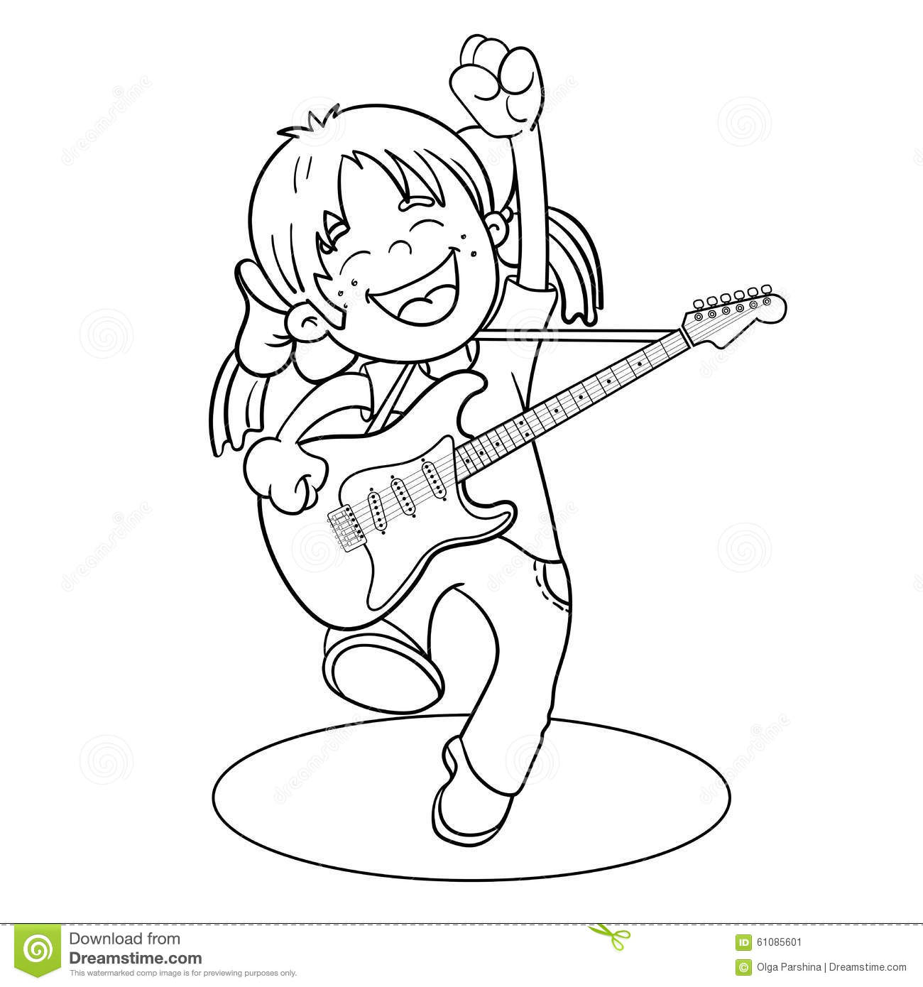 coloring page outline of a cartoon with a guitar stock vector