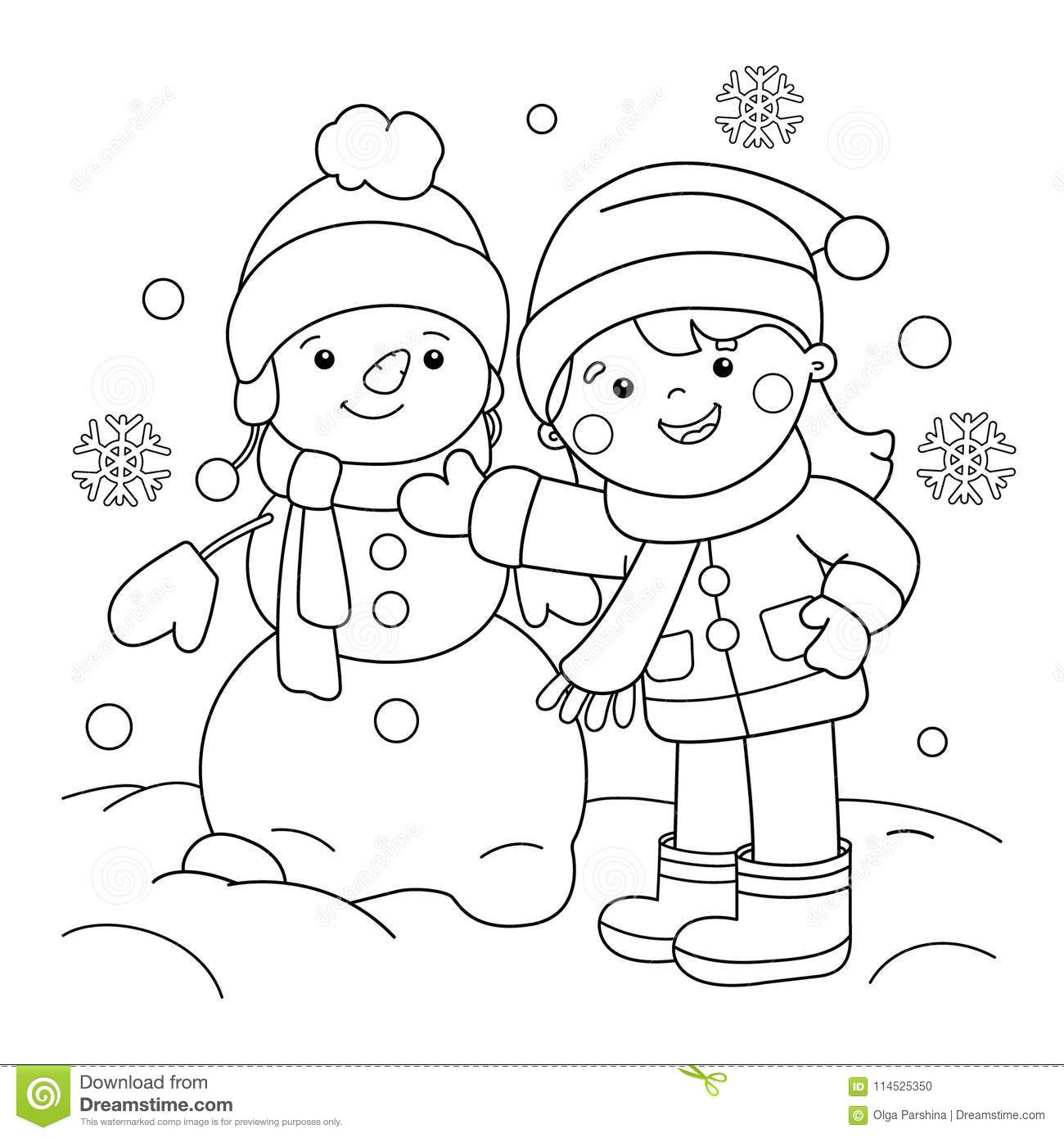 Coloring Page Outline Of Cartoon Girl Making Snowman. Winter Stock ...