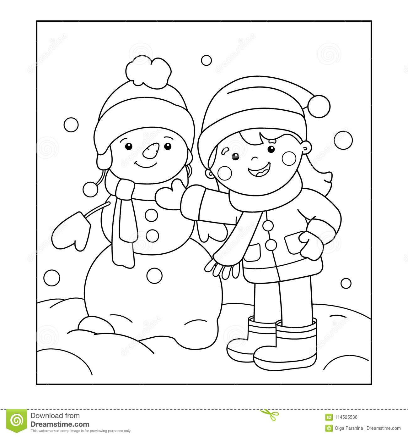 Coloring Page Outline Of Cartoon Girl Making Snowman. Winter. Stock ...