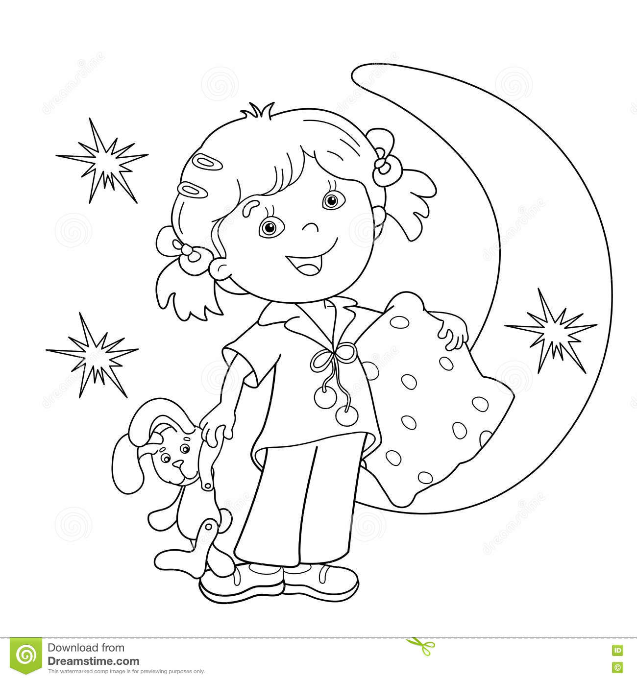 coloring page outline of cartoon in pajamas with pillow stock