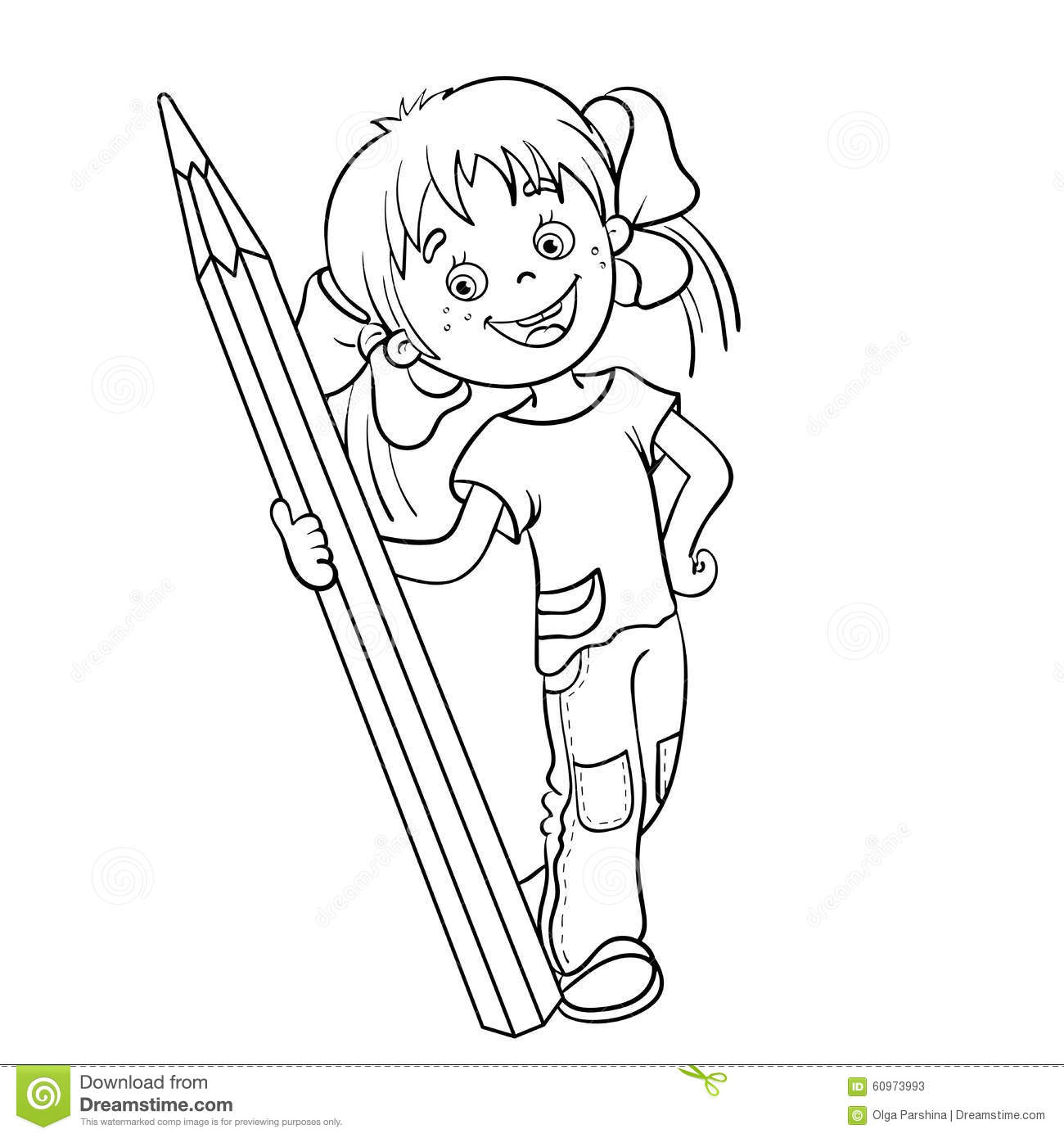 coloring page outline of a cartoon girl with pencil stock vector