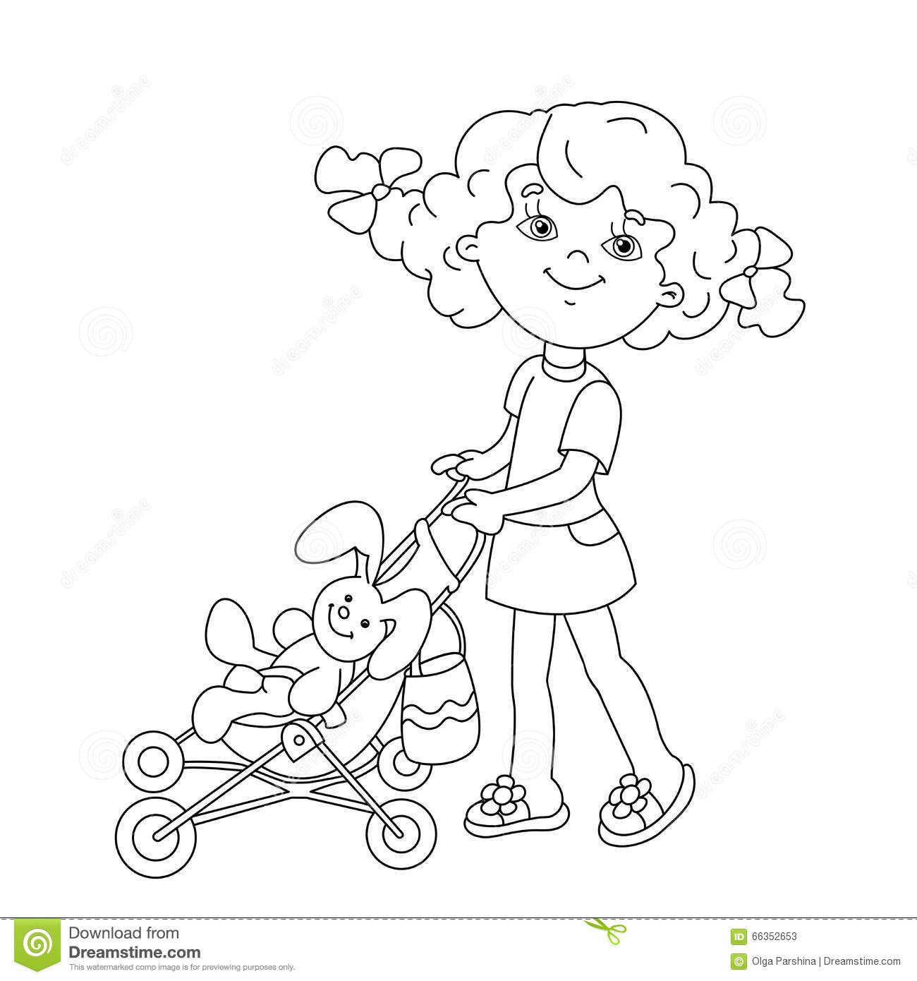 Coloring Page Outline Of Cartoon Girl Playing With Dolls With St ...