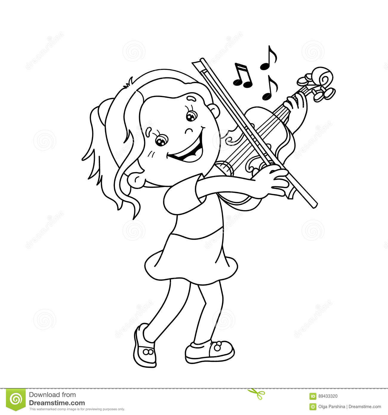 Coloring Page Outline Of Cartoon Girl Playing The Violin Stock