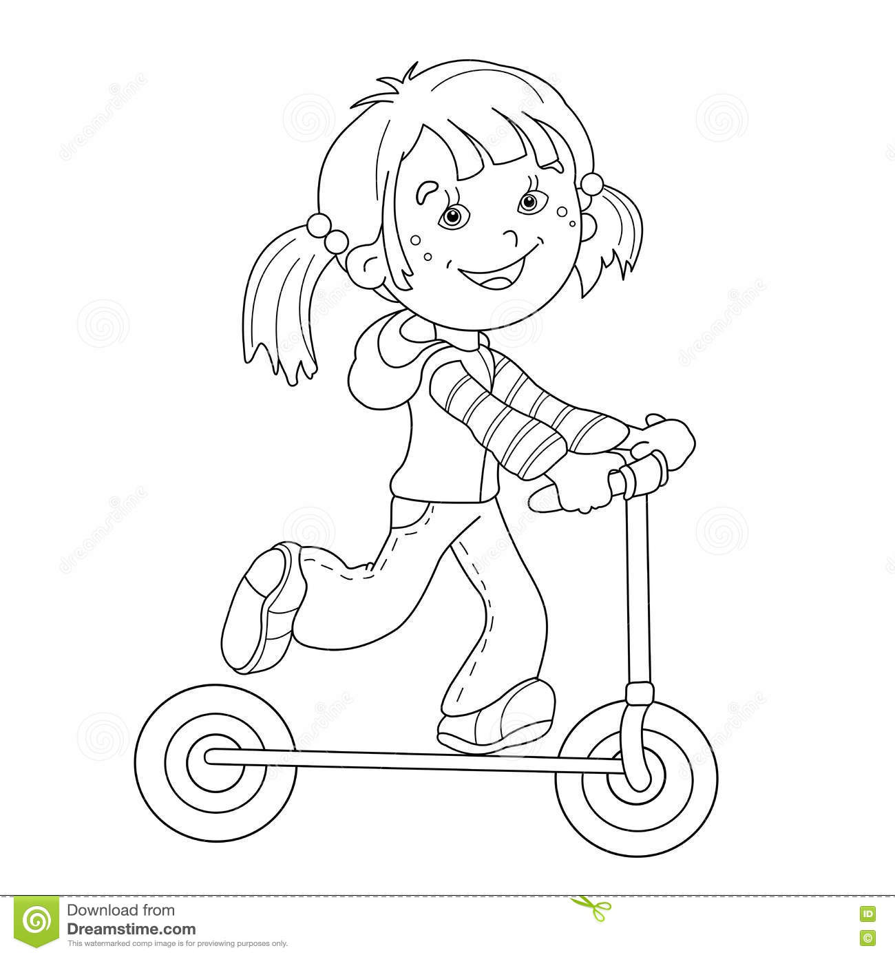 coloring page outline of cartoon girl on the scooter