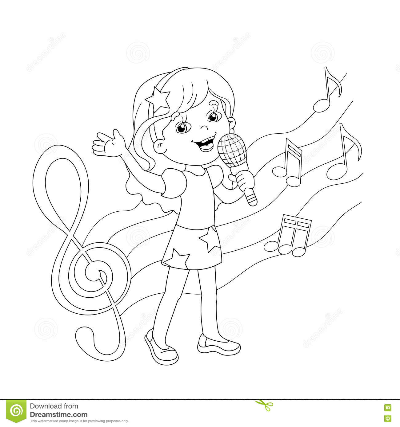 Coloring Page Outline Of Cartoon Girl Singing A Song Stock Vector