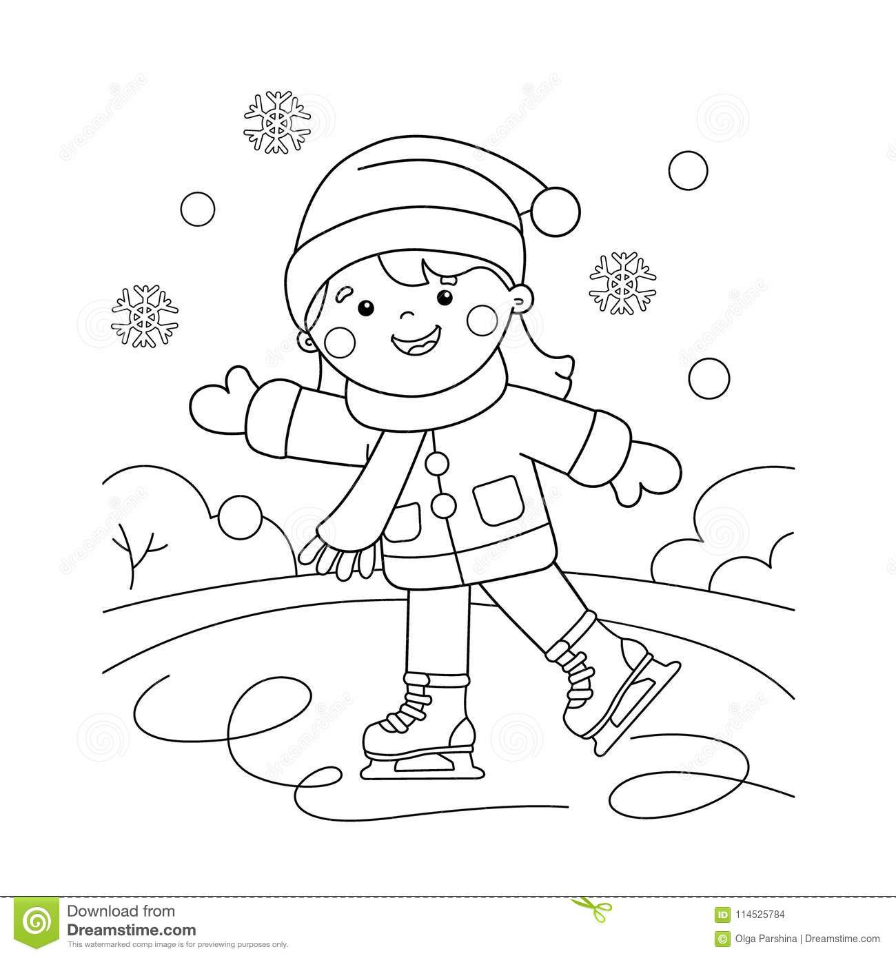 coloring page outline of cartoon girl skating winter sports coloring book for kids stock. Black Bedroom Furniture Sets. Home Design Ideas
