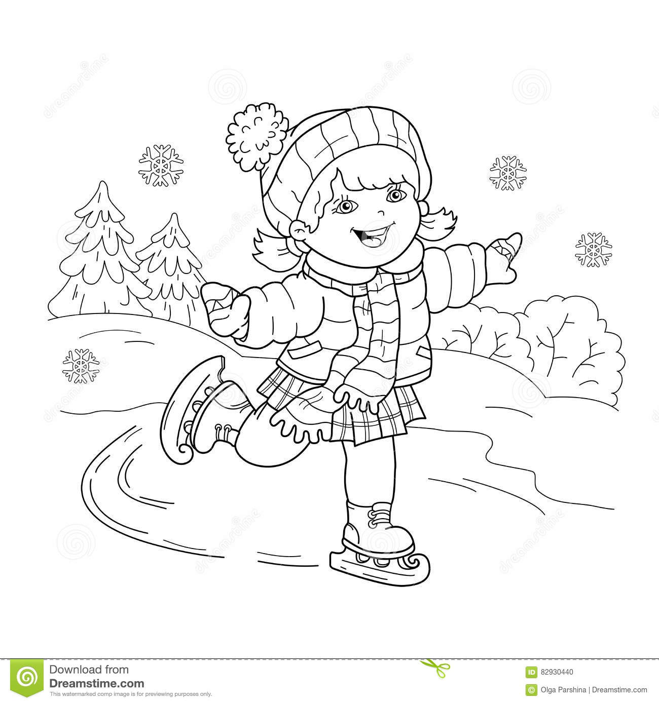 Coloring Page Outline Of Cartoon Girl Skating. Winter ...