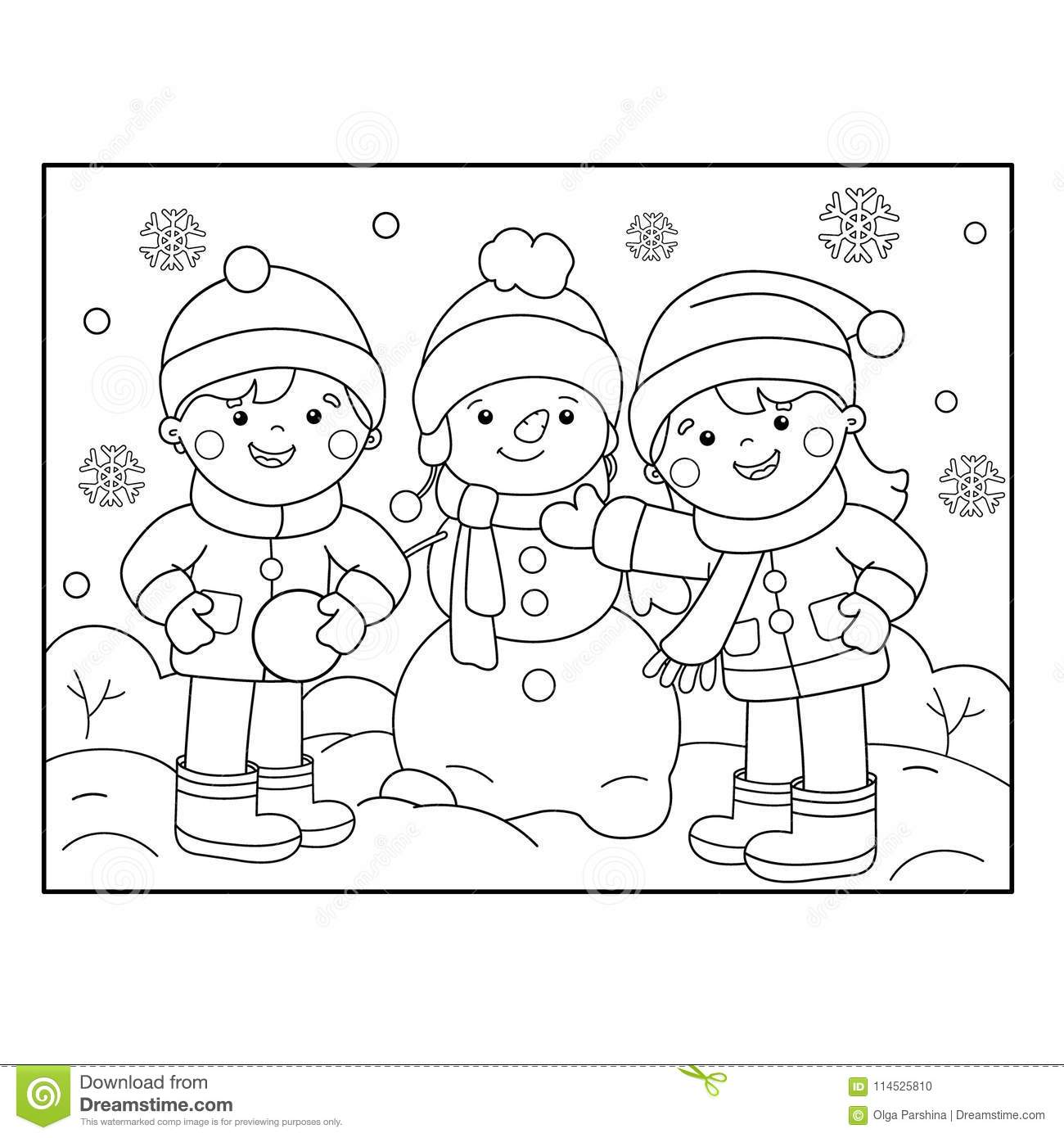 Coloring Page Outline Of Cartoon Girl Skating Winter Sports