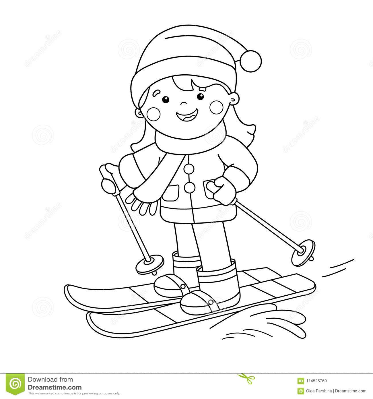 coloring page outline of cartoon girl skiing winter sports coloring book for kids stock. Black Bedroom Furniture Sets. Home Design Ideas