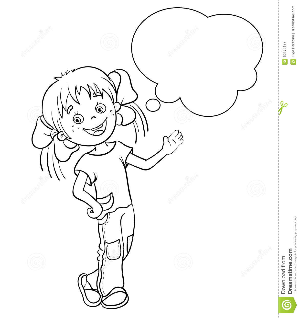 Coloring page outline of a cartoon girl with speech bubble for Speech coloring pages