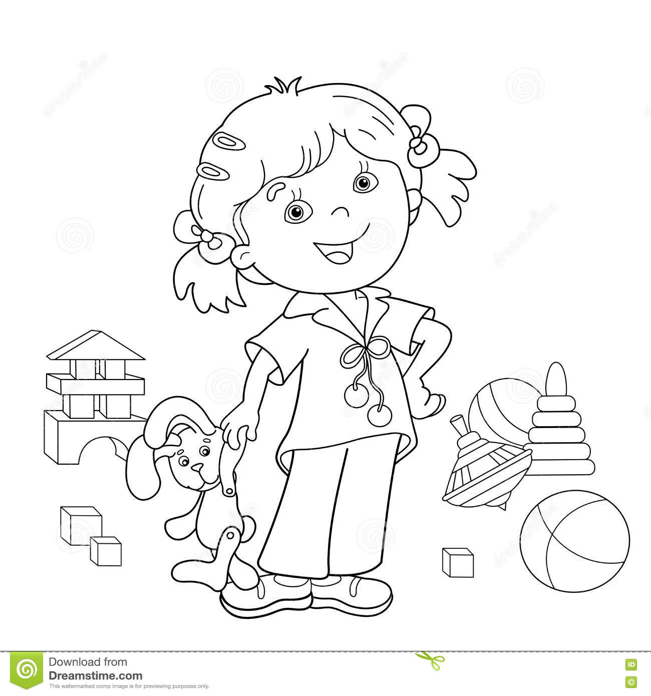 Coloring Page Outline Of Cartoon Girl With Toys Stock Vector