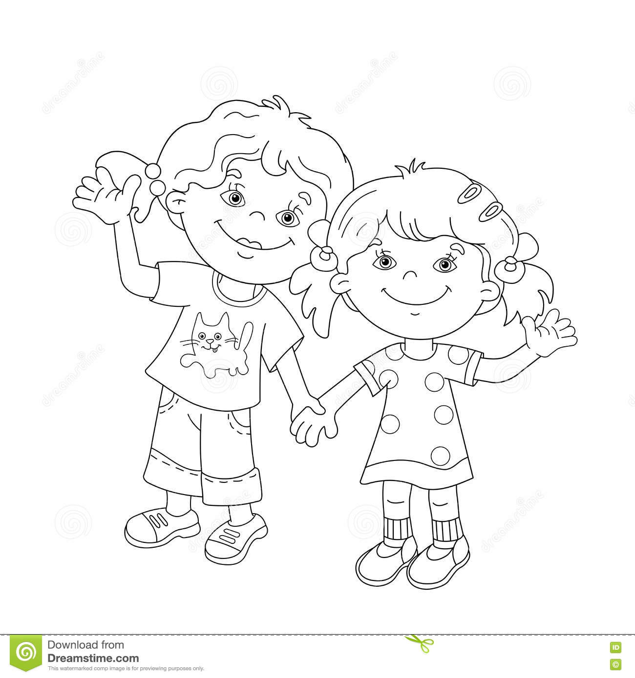 coloring page outline of cartoon girls holding hands