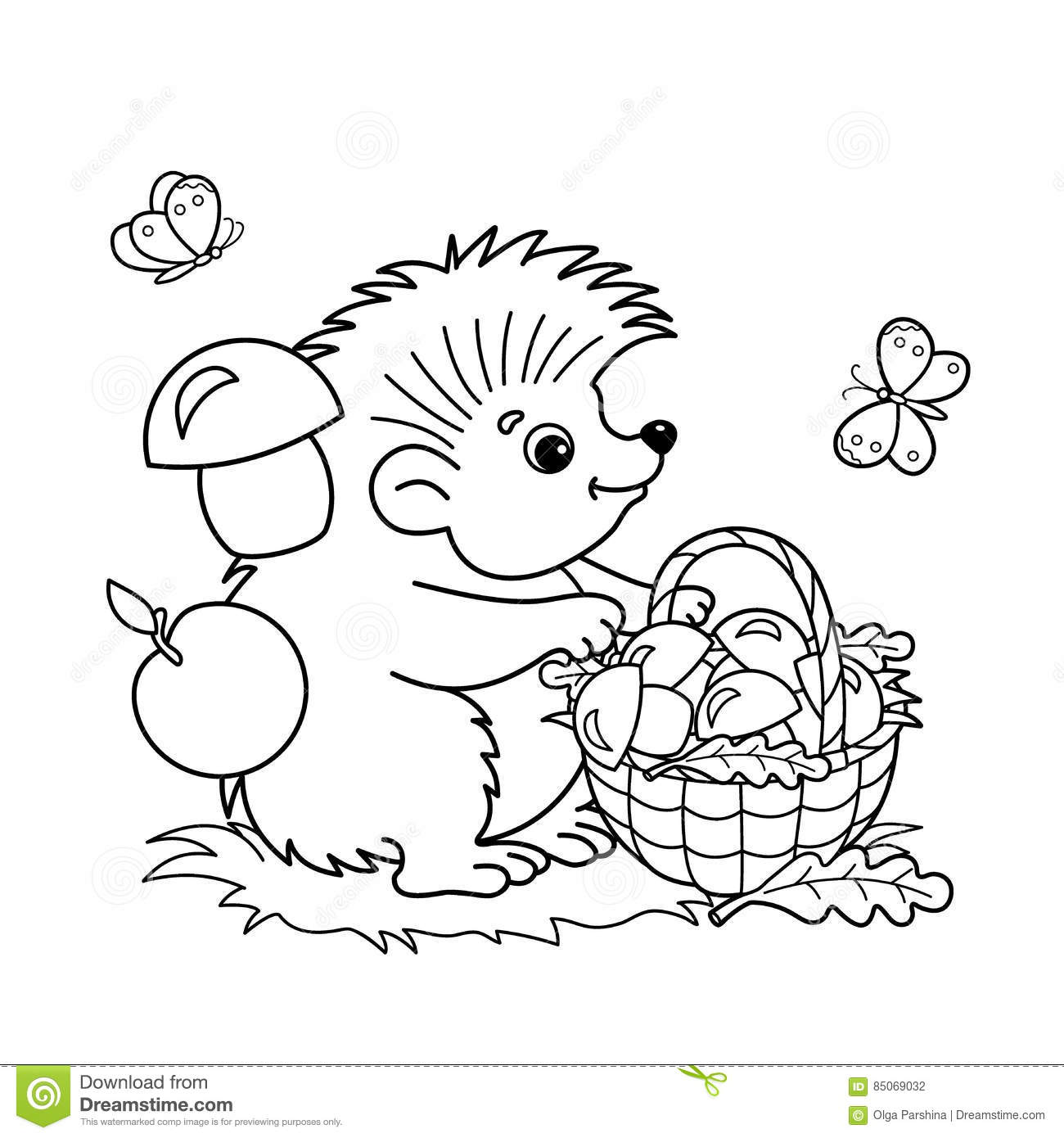 Coloring Page Outline Of Cartoon Hedgehog With Basket Of Mushrooms