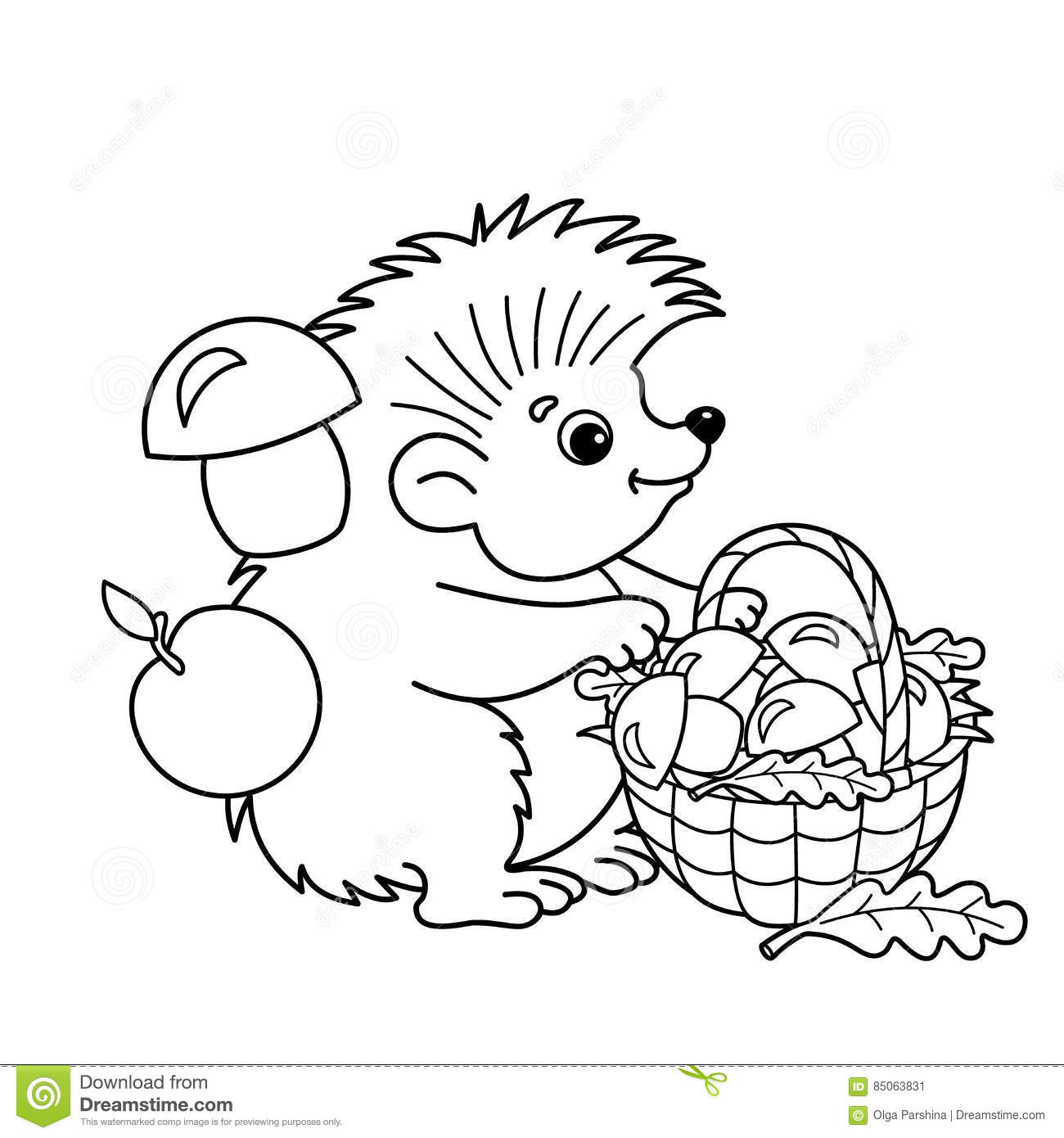 Coloring Page Outline Of Cartoon Hedgehog With Basket Mushrooms
