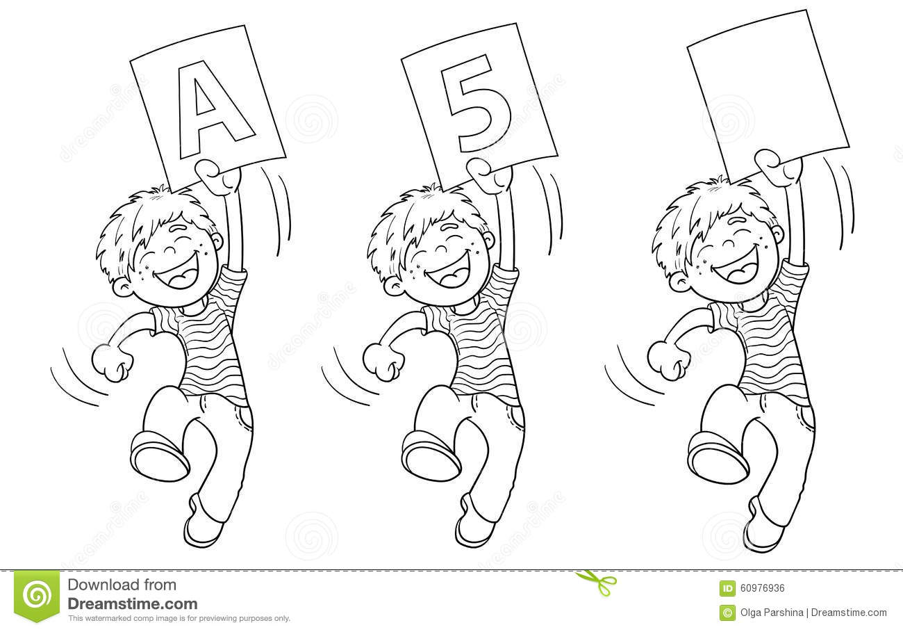 Coloring Page Outline Of A Cartoon Jumping Boy With Highest Rati Stock Vector