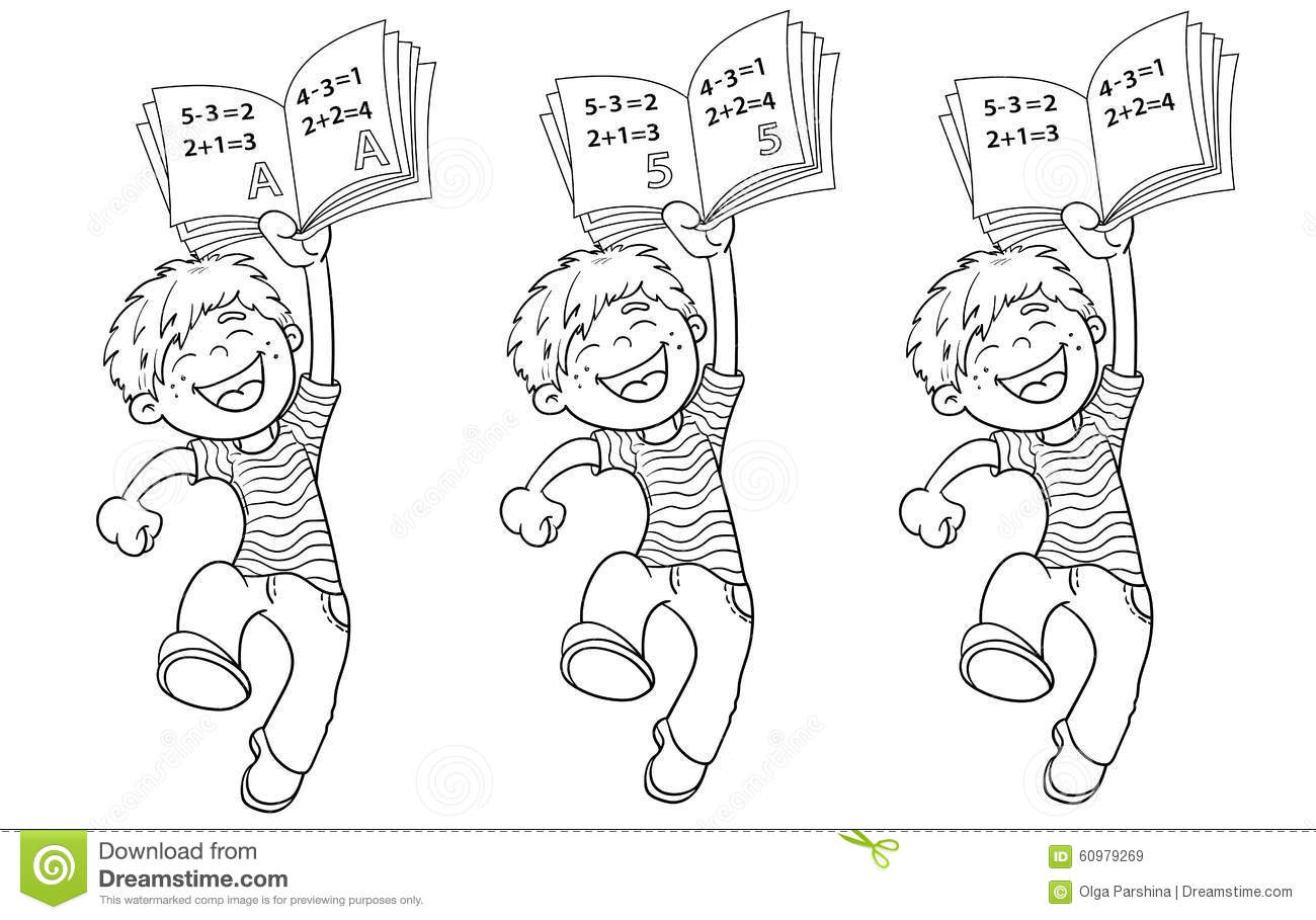 coloring page outline of a cartoon jumping boy with highest rati