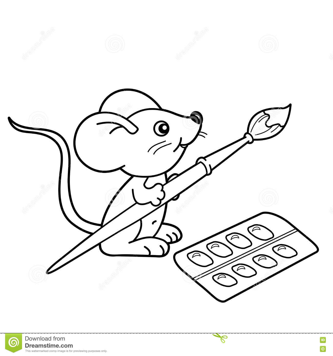 Online coloring with paint brush - Cartoon Paint Brushes Coloring Page Stock Illustration Coloring Page Outline Cartoon Little Mouse Brush Paints