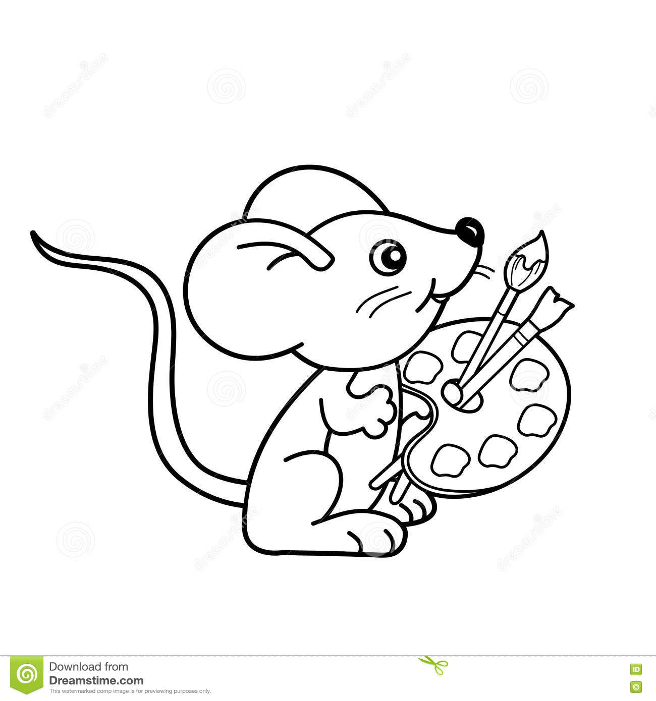 coloring page outline of cartoon little mouse with brushes and paints coloring book for kids