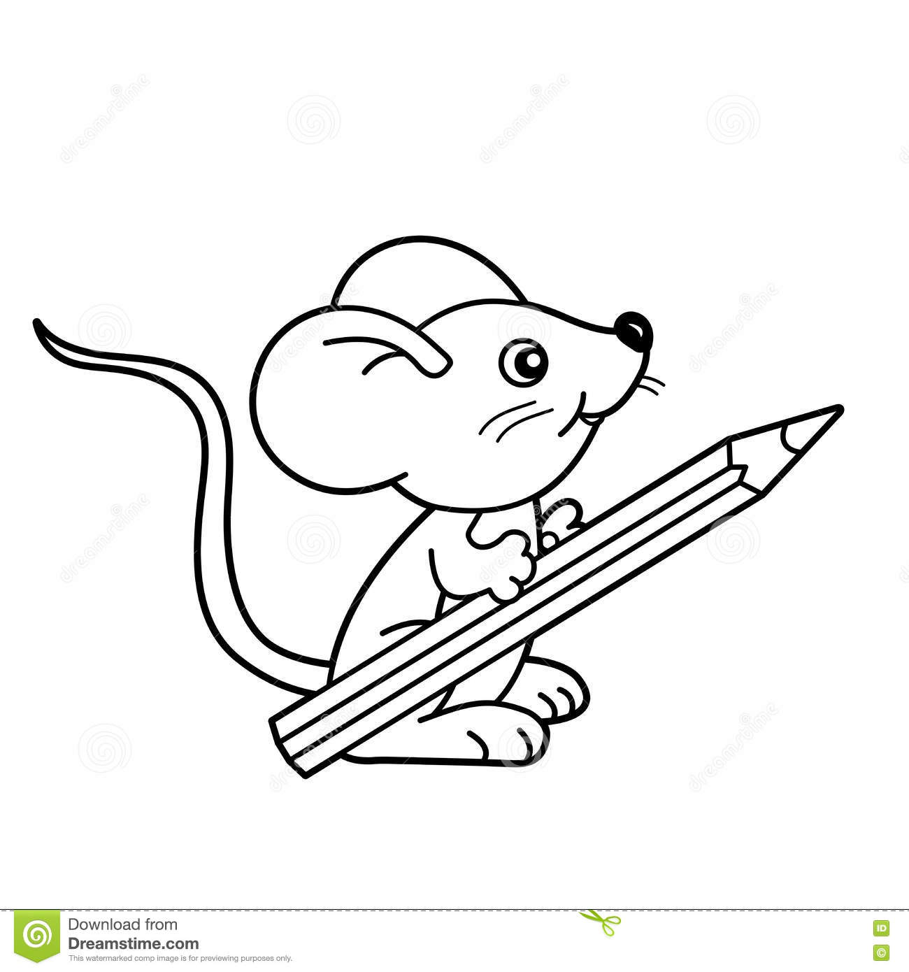 Coloring Page Outline Of Cartoon Little Mouse With Pencil
