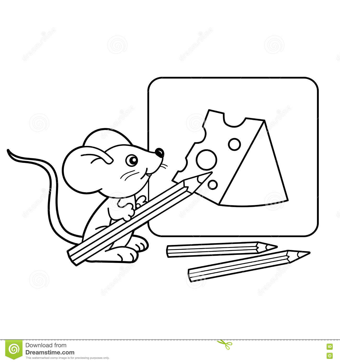 coloring page outline of cartoon little mouse with pencils with