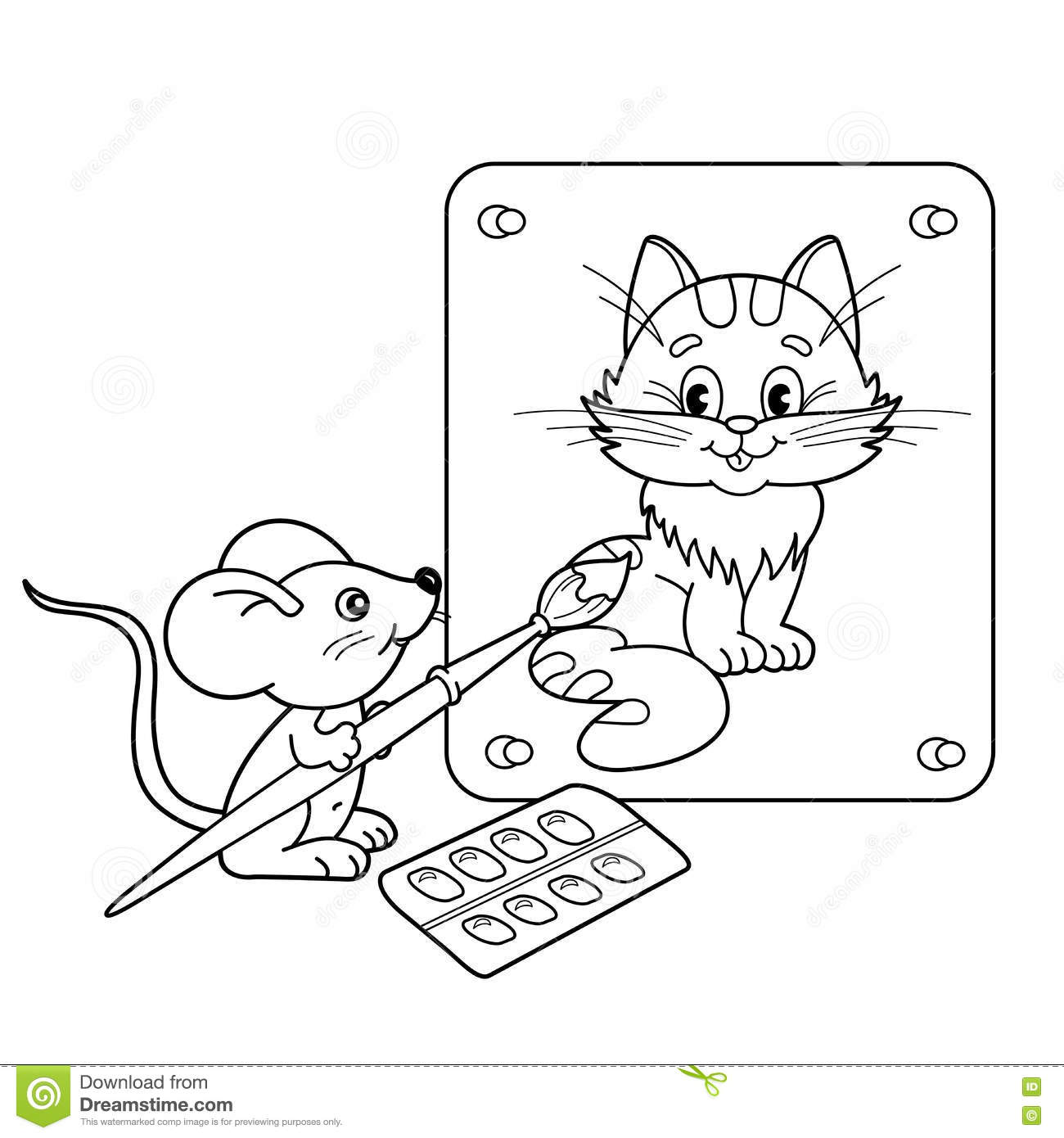 coloring page outline of cartoon little mouse with picture of cat