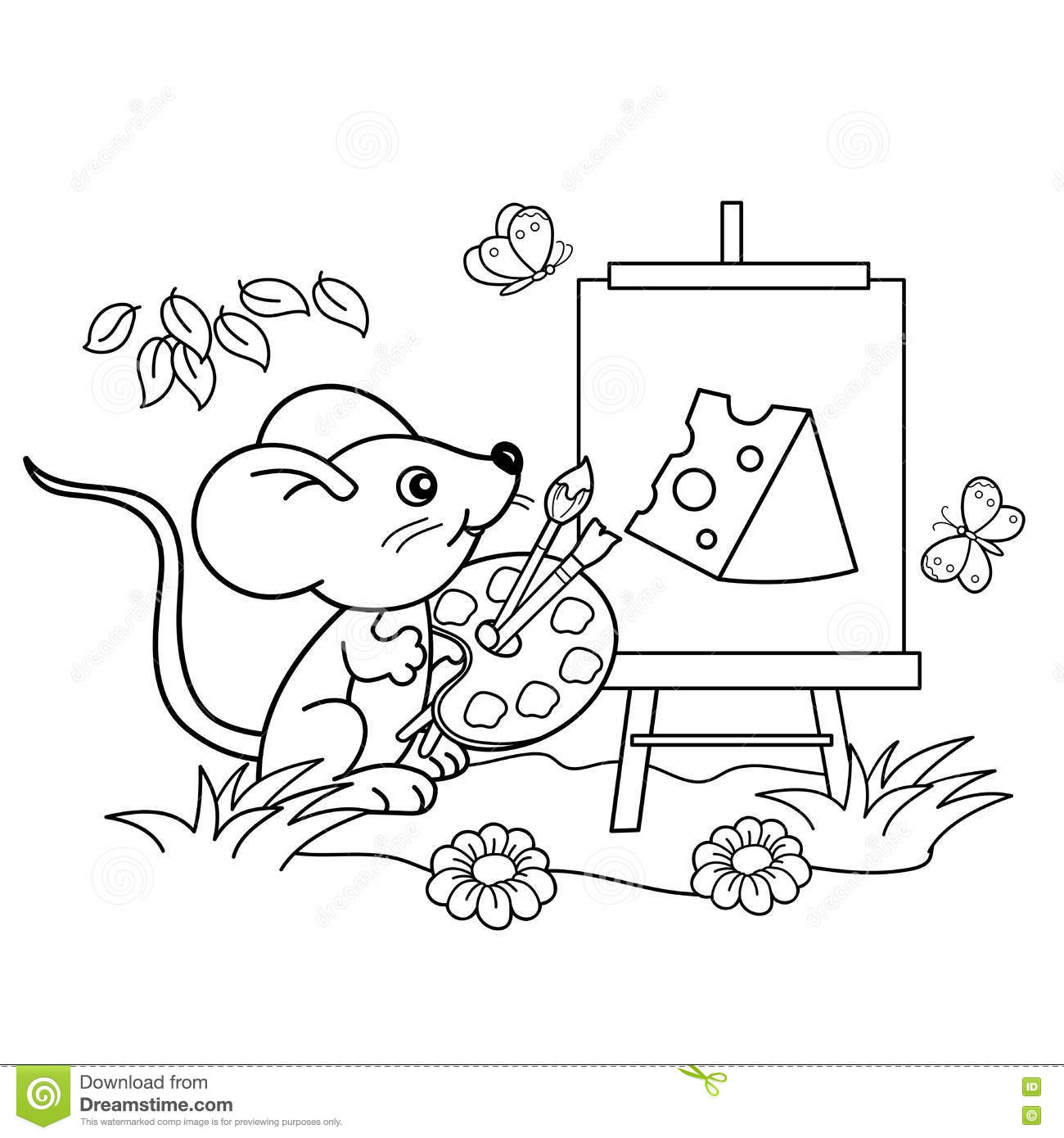 Online coloring with paint brush - Cartoon Paint Brushes Coloring Page Coloring Page Outline Cartoon Little Mouse Picture Cheese Brush Paints