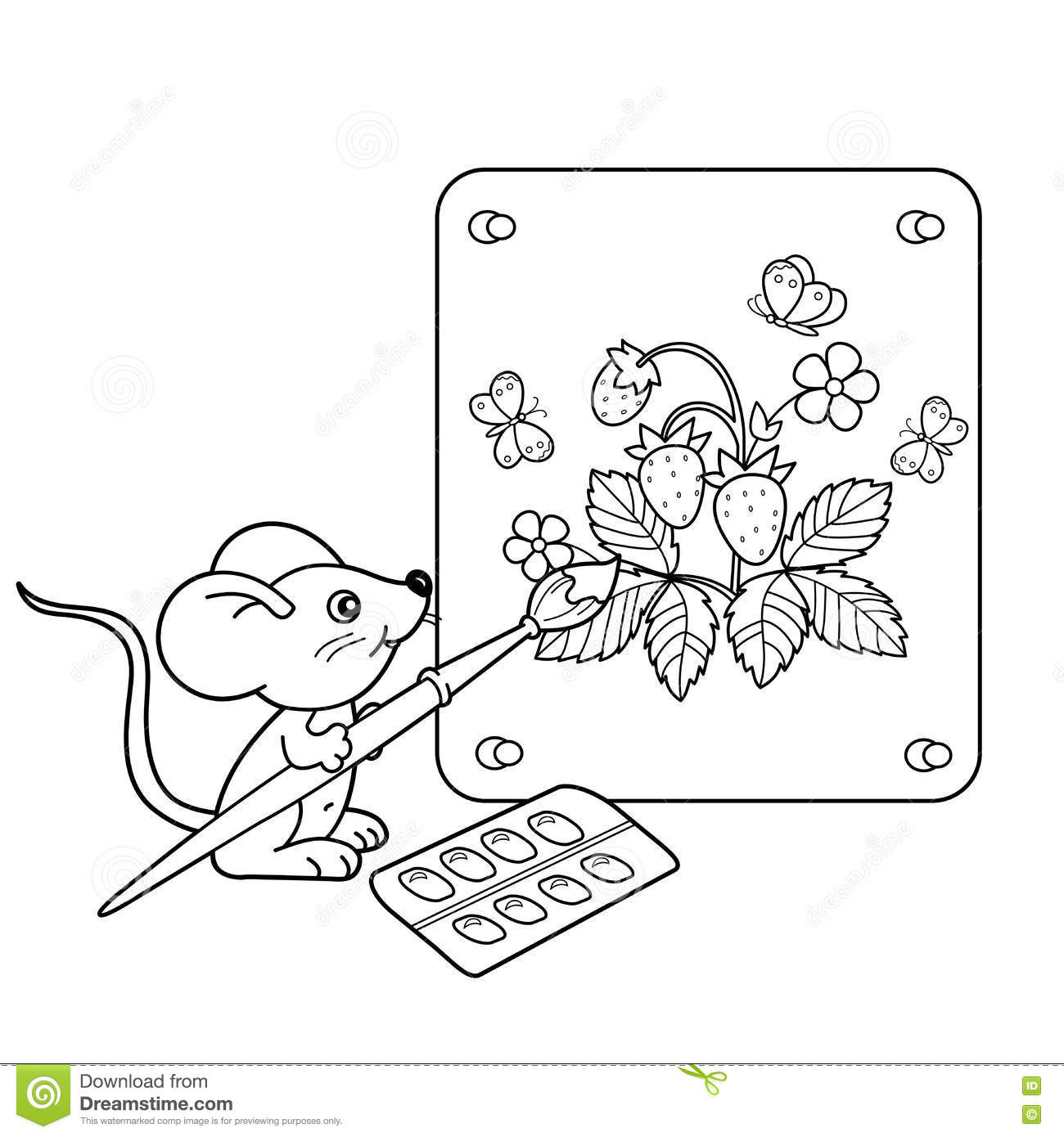 Coloring Page Outline Of cartoon little mouse with picture of strawberry with brush and paints. Coloring book for kids