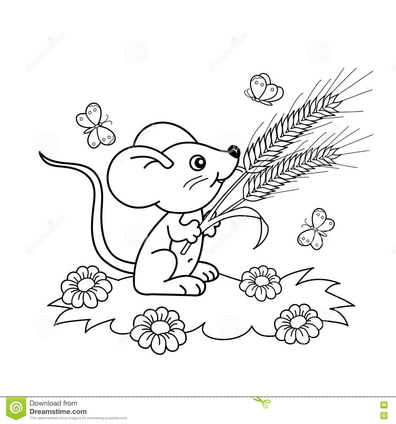 Coloring Page Outline Of Cartoon Little Mouse With Spikelets In The
